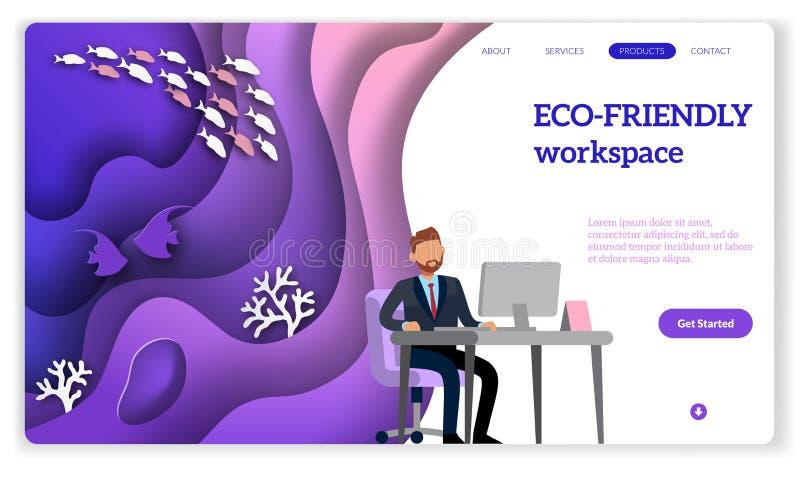 Eco-Landung Moderne violette Steigungen Arbeitszimmer oder Büro mit ökologischem Arbeitsplatz und Bäume für Webseitenvektorschabl lizenzfreie abbildung