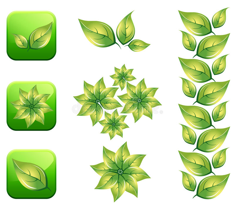 Eco leaf. Icon illustration.This image is a vector illustration and can be scaled to any size without loss of resolution in editable software stock illustration