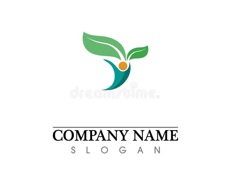 Eco, leaf, athletic, balance, body, brand, care, club, creative. Prayer, rehab, relaxation, adoption, silhouette, sport, symbol, therapy, train, training, yang royalty free stock images