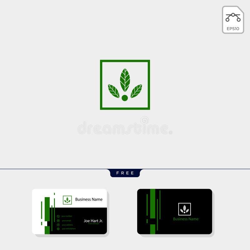 eco leaf logo template vector illustration, get free business card design template vector illustration