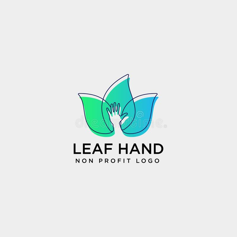 Eco leaf hand care logo template vector illustration icon element. Isolated - vector stock illustration