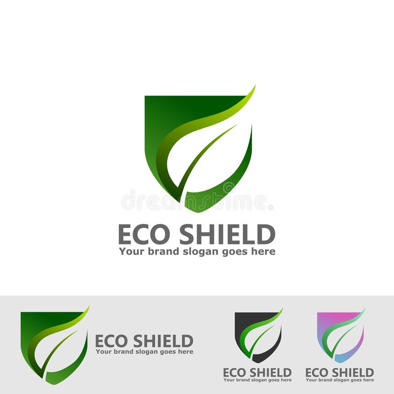 Eco leaf shield logo stock illustration