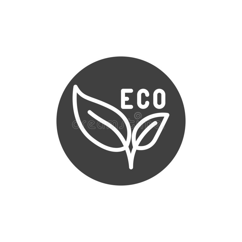 Eco leaves label vector icon. Filled flat sign for mobile concept and web design. Eco material badge glyph icon. Symbol, logo illustration. Vector graphics vector illustration