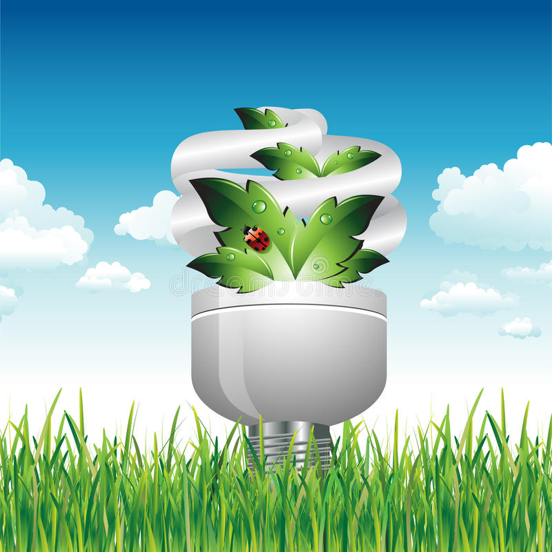 Download Eco Light Bulb In The Grass Stock Vector - Image: 18459926