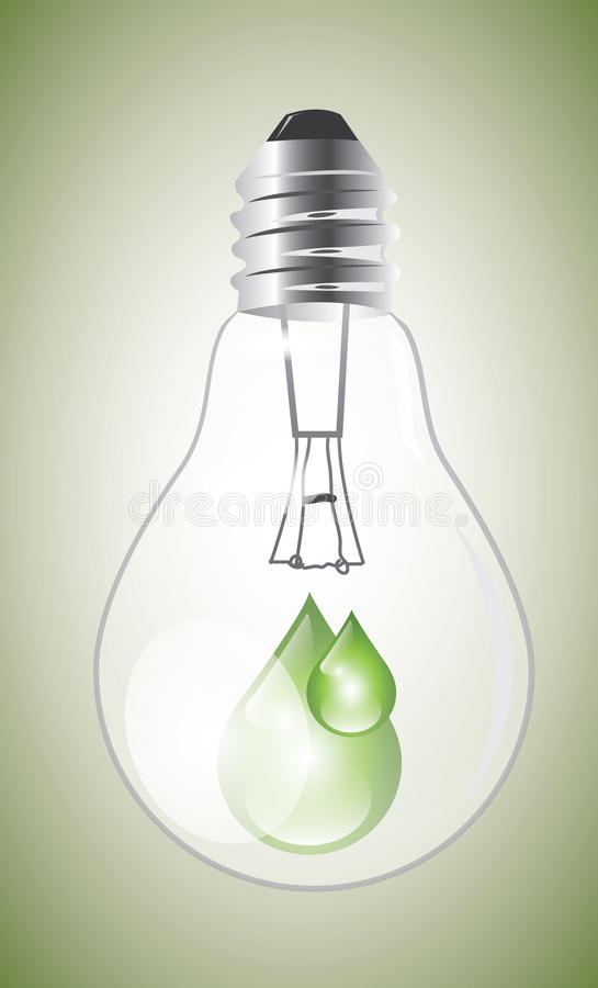 Eco lightbulb with drops royalty free illustration