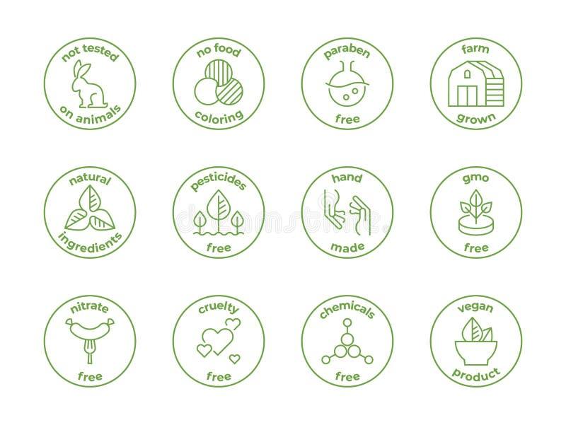 Eco linje emblem Naturliga organiska logoer, paraben som inte testas fritt på djur, fria etiketter för grymhet, framsidaskincare  royaltyfri illustrationer