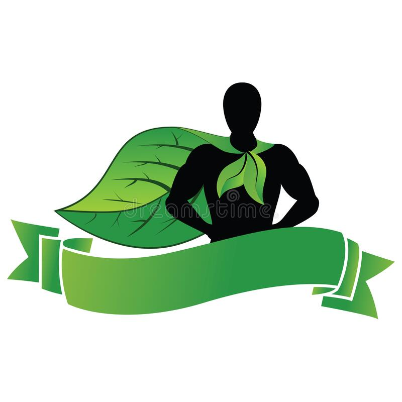 ECO-Logo für Superhelden-Maskottchen stock abbildung
