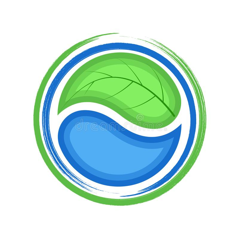 Eco logo, green leaf and blue drop water, ecology icon vector illustration
