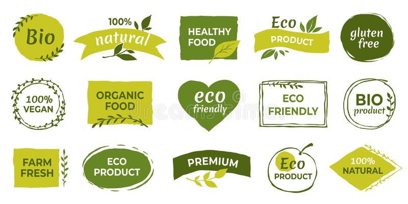 Eco logo. Organic healthy food labels and vegan products badge, nature farmed food tags. Vector gluten free and bio vector illustration