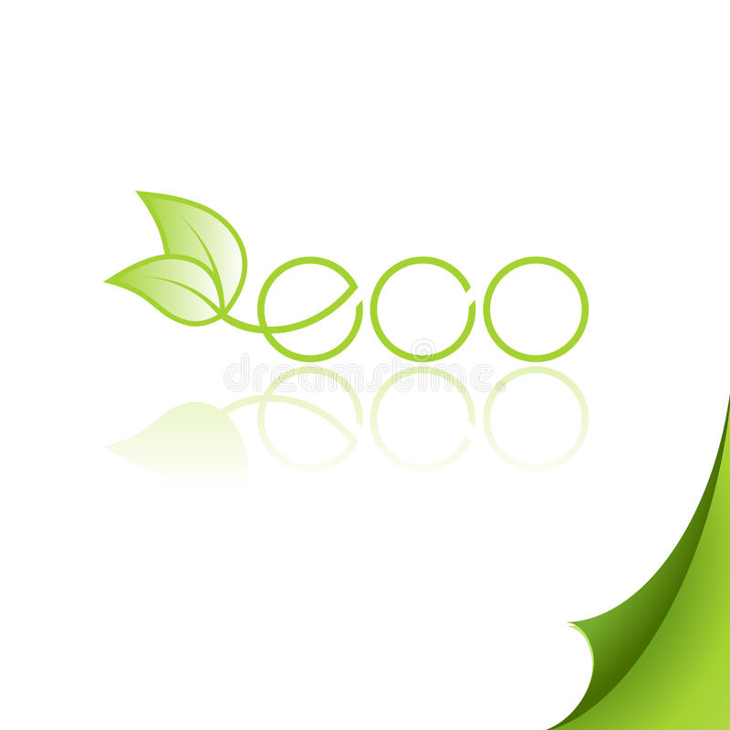Eco logo with reflection on paper. royalty free illustration