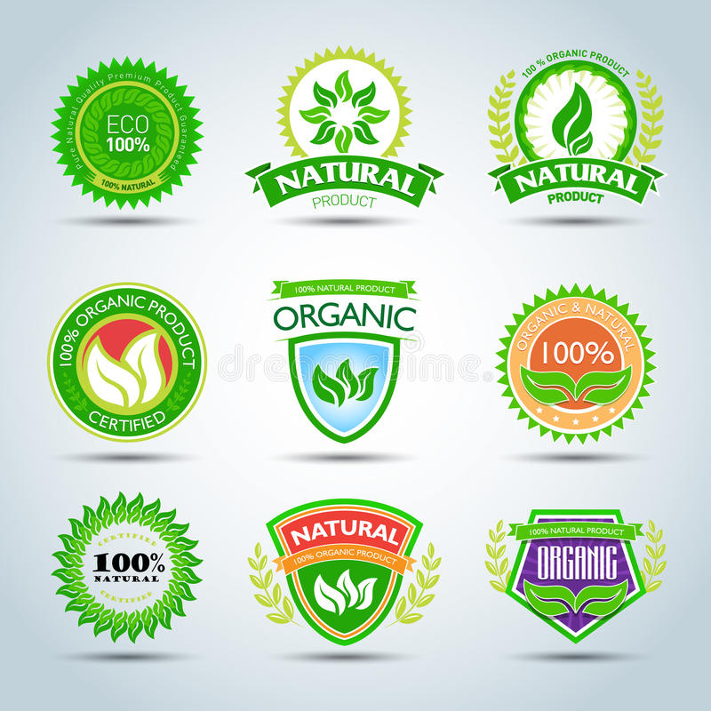 Eco logo template set. 100% organic product certified, natural product. Bio label with retro vintage design. Green Vector format. royalty free illustration