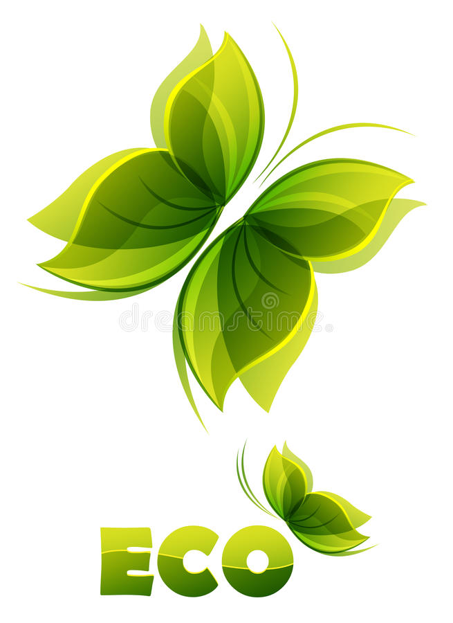 Download Eco Logo - Two  Green Butterflies Stock Photo - Image: 19541910