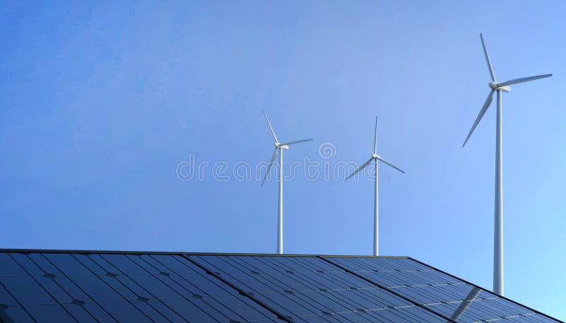 Eco makt, förnybara energikällor-, vindturbin och paneler för sol- cell på blå himmel royaltyfri illustrationer