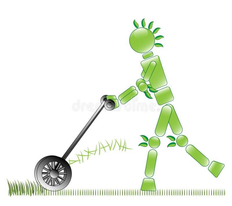 Eco Mann mäht Gras stock abbildung