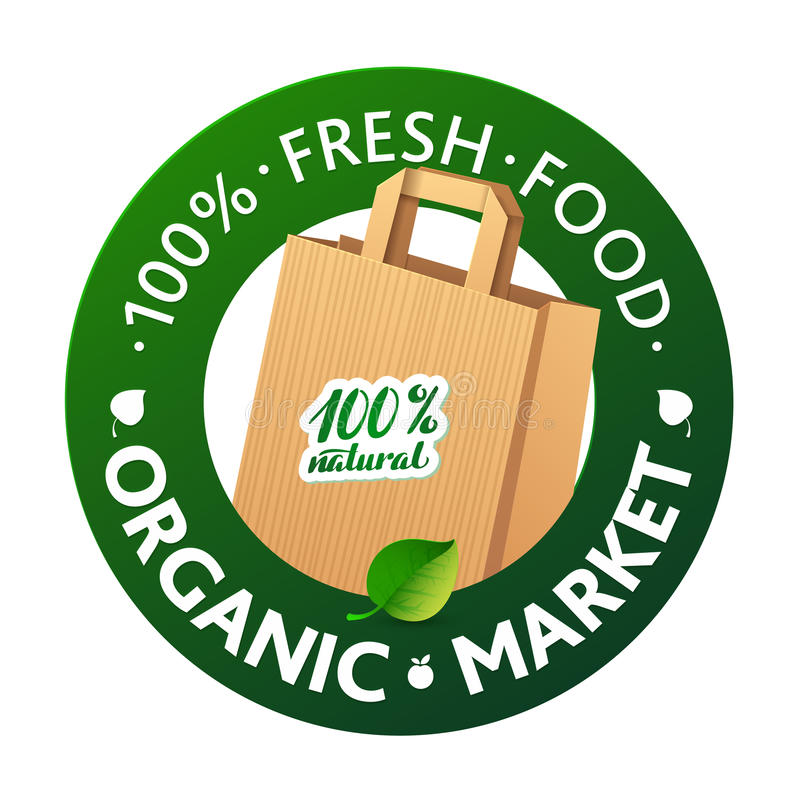 Eco Market Badge Promo. Paper bags and leaves on. Green background royalty free illustration
