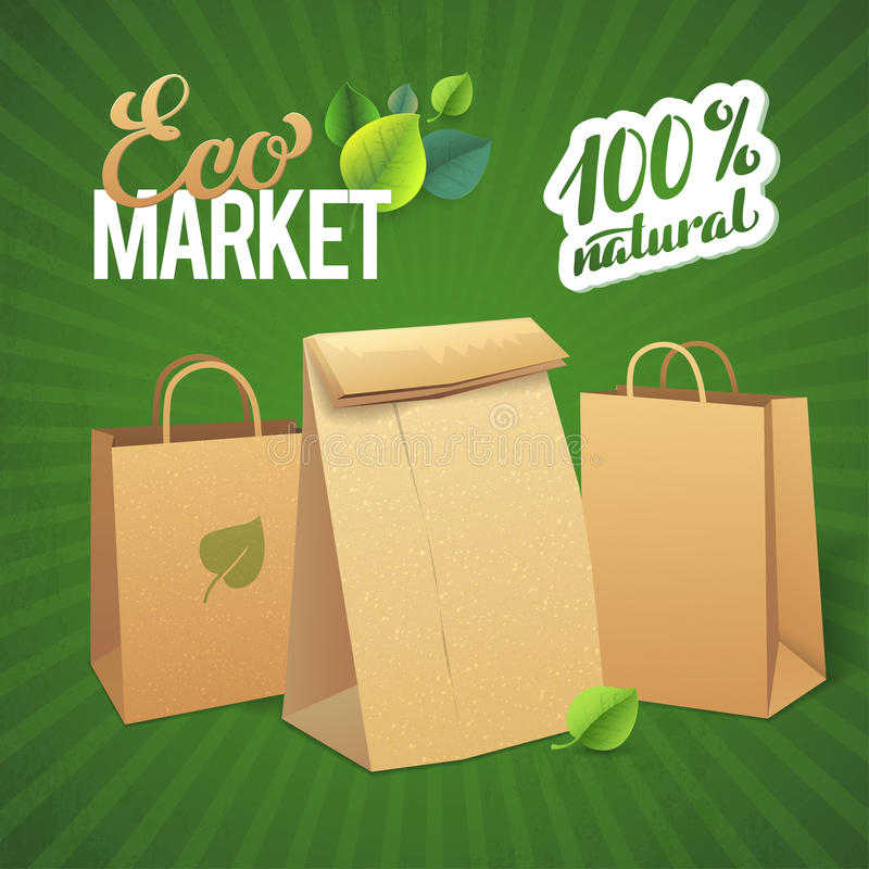Eco Market Promo. Paper bags and leaves on green. Background vector illustration