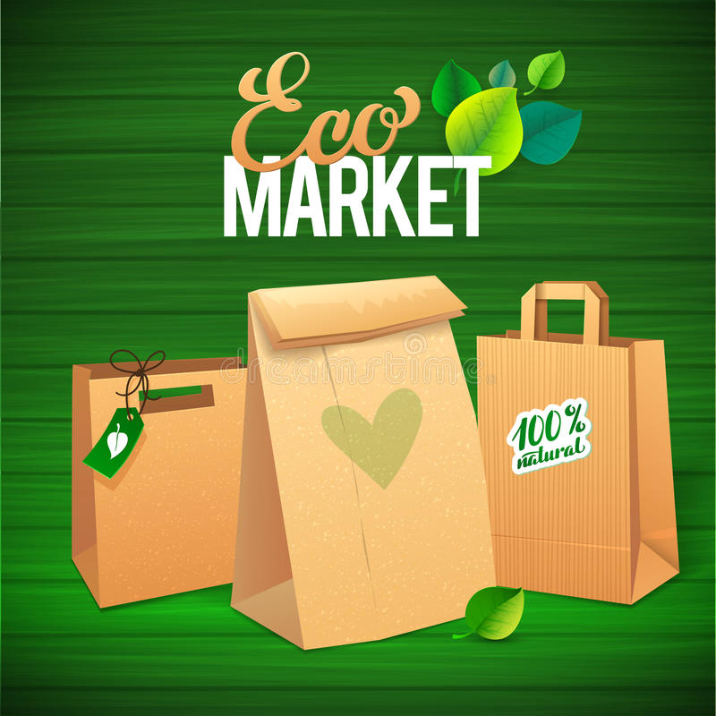 Eco Market Promo. Paper bags and leaves on green. Background. save the planet vector illustration