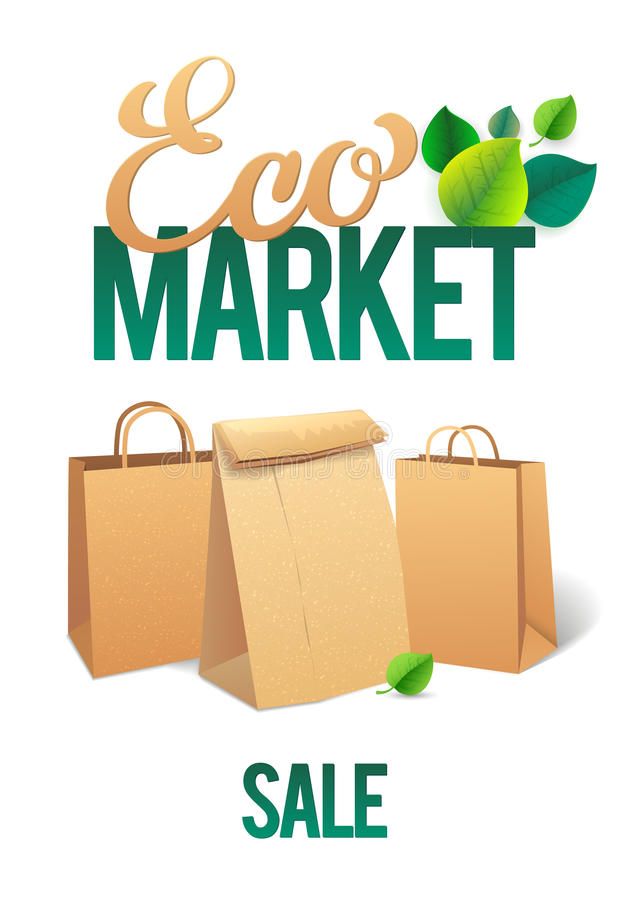 Eco Market Promo. Paper bags and leaves on green background. save the planet.  vector illustration