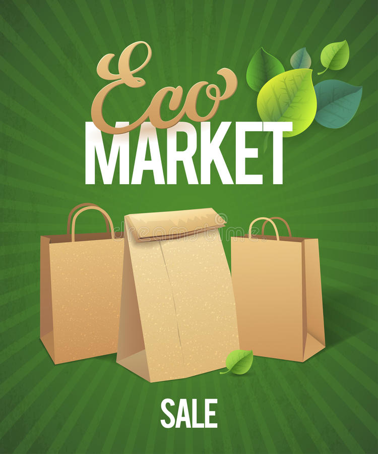 Eco Market Sale. Paper bags on green background stock illustration