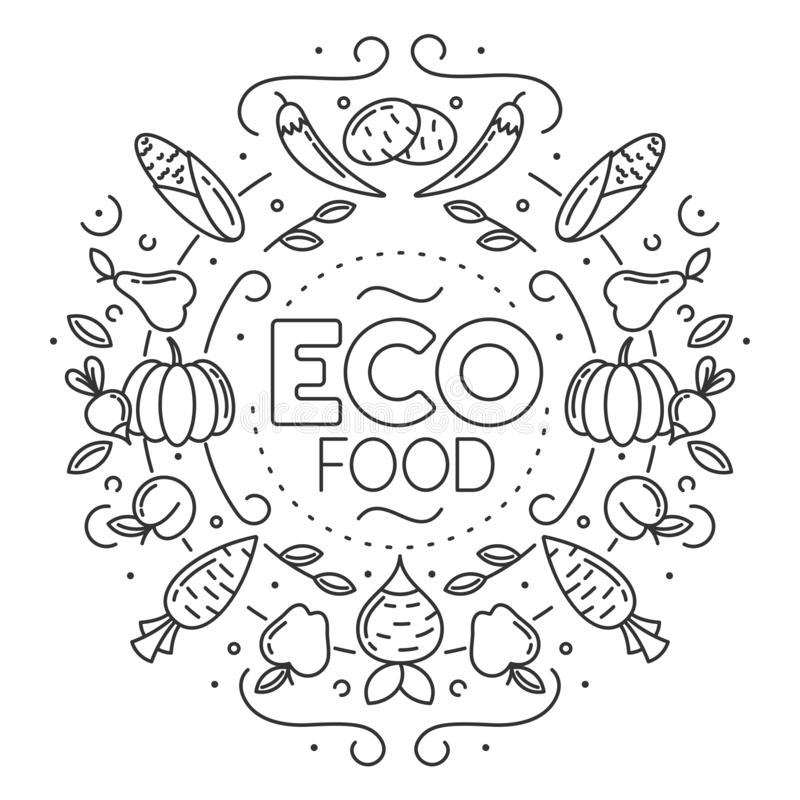 Eco mat E stock illustrationer