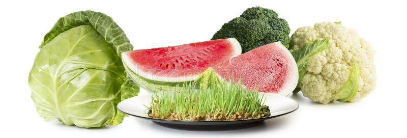 Eco mat Kål blomkål, vattenmelon royaltyfria bilder