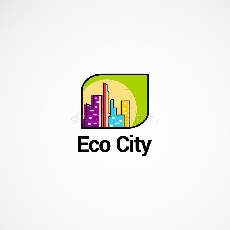 Eco miasta logo projektów pojęcie, ikona, element i szablon dla biznesu, zdjęcia stock