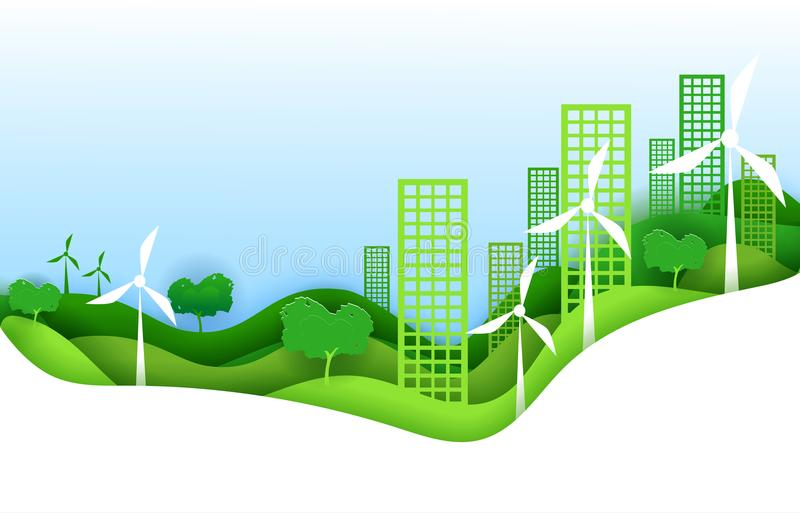 Eco miasta pojęcia plakat w papierowym sztuki origami stylu Wektorowego ilustracja papieru rżnięty projekt Zielony miasteczko z s ilustracji