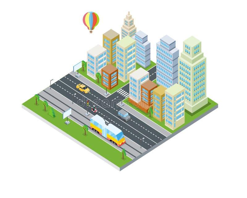 Eco miasta projekt nowoczesna architektura royalty ilustracja