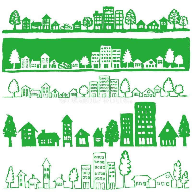 Eco miasteczko. ręcznie pisany ilustracje.