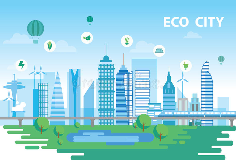 Eco miasto ilustracji