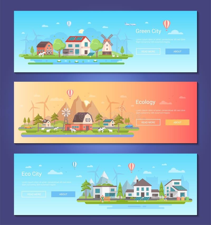 Eco miasto - set nowożytne płaskie projekta stylu wektoru ilustracje royalty ilustracja