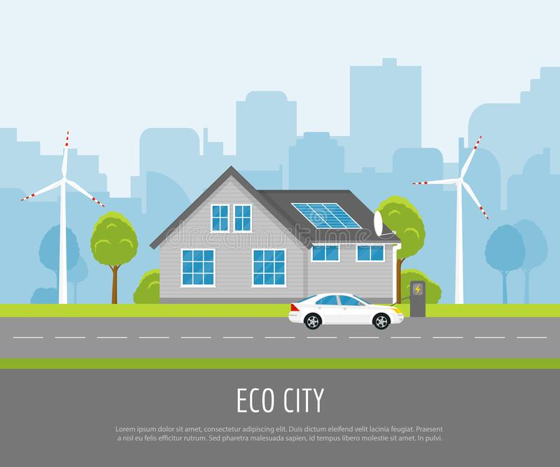 Eco miasto z panel słoneczny ilustracja wektor