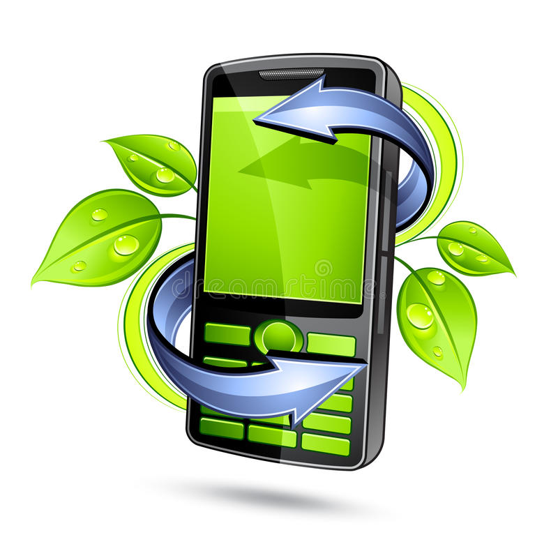 Eco mobile telephone. Three dimensional illustration of green ecological mobile telephone with green plant leaves and directional arrows, isolated on white vector illustration