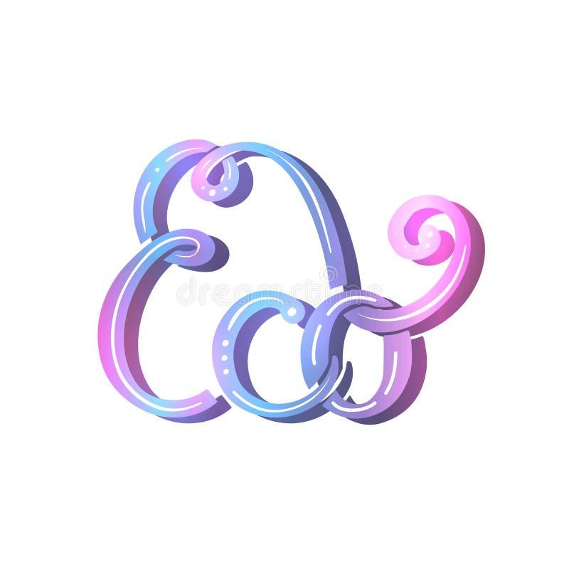 Eco muśnięcia literowanie Neonowa ekologiczna inskrypcja z dekoracją Elegancka gradientowa wycena dla nowoczesnego życia uratuje  ilustracji