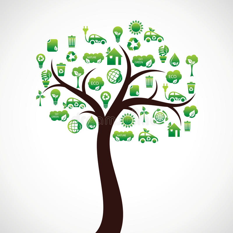 Download Eco Natur-Ikonenbaum vektor abbildung. Illustration von ökologisch - 27725067