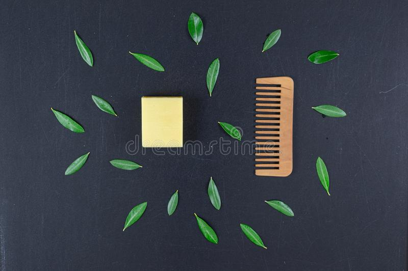 Eco natural and biologic soap and solid shampoo bars. Zero waste concept. Plastic free. Flat lay, top view royalty free stock images
