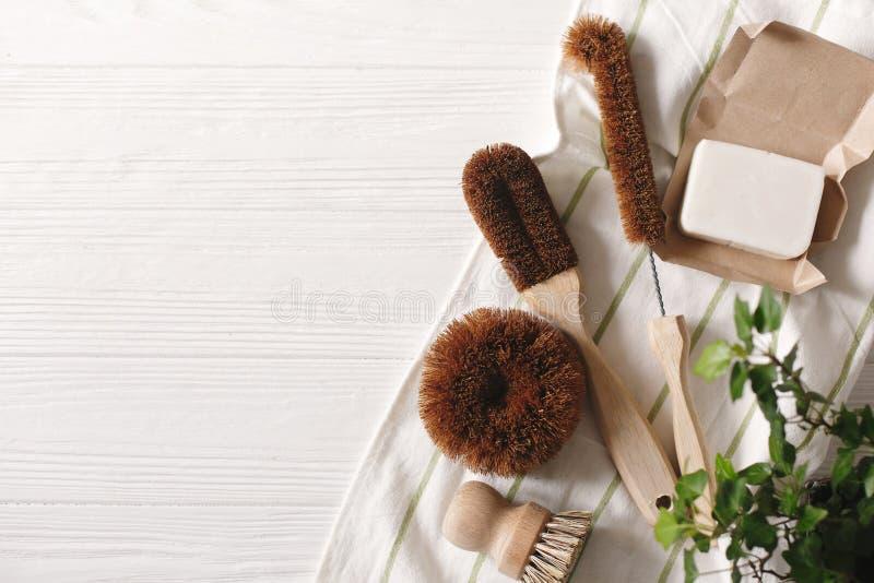 Eco naturliga kokosnöttvål och borstar för tvättande disk, eco fri arkivbilder