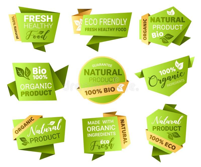 Eco och bio gröna emblem på vit royaltyfri illustrationer