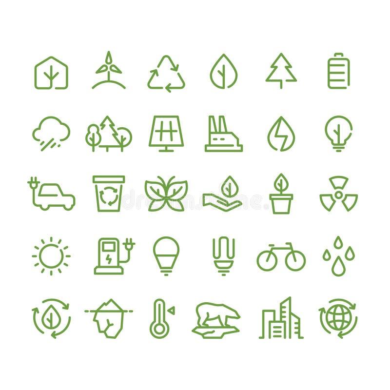 Eco och grön miljövektorlinje symboler Ekologi- och återvinningöversiktssymboler stock illustrationer