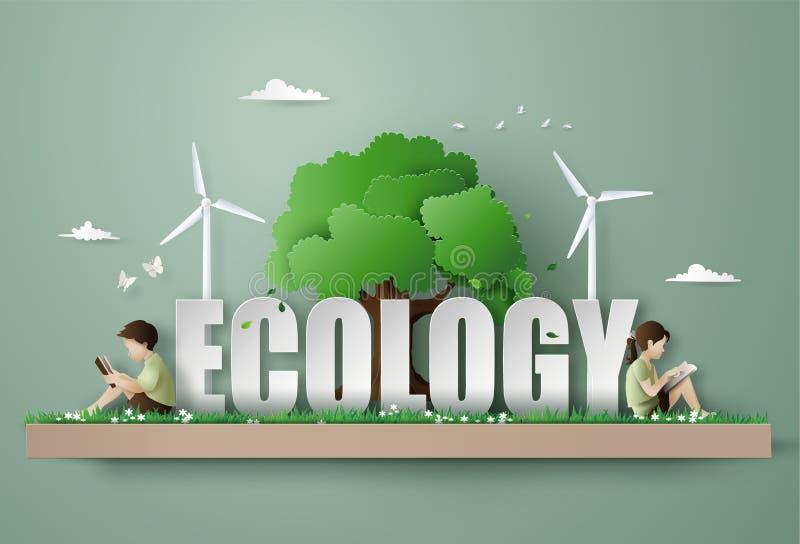 Eco och miljöbegreppet med barn läste en bok royaltyfri illustrationer