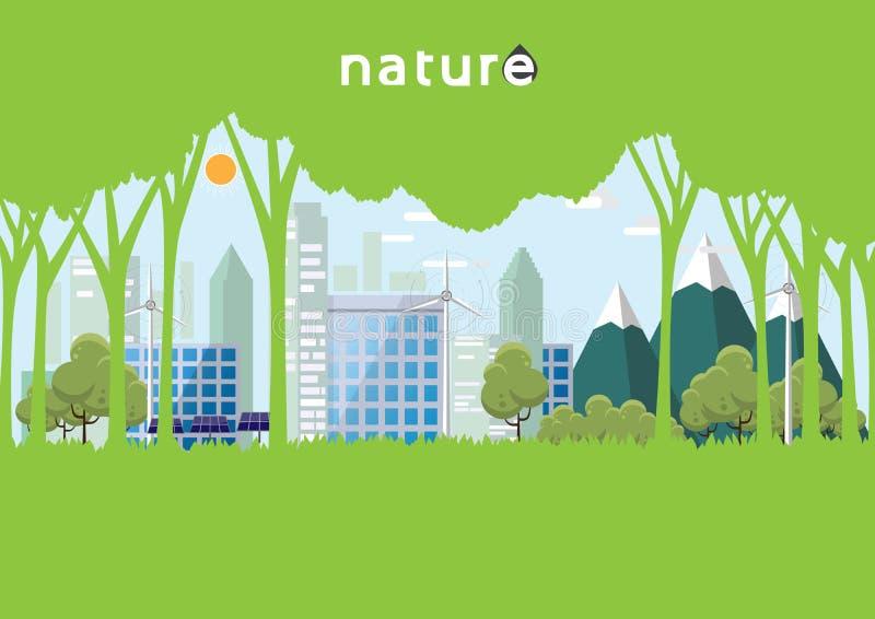 Eco och naturmallen planlägger med skogen och staden i plan desi stock illustrationer