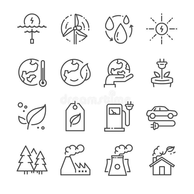 Eco odnosić sie kreskowe ikony ilustracja wektor