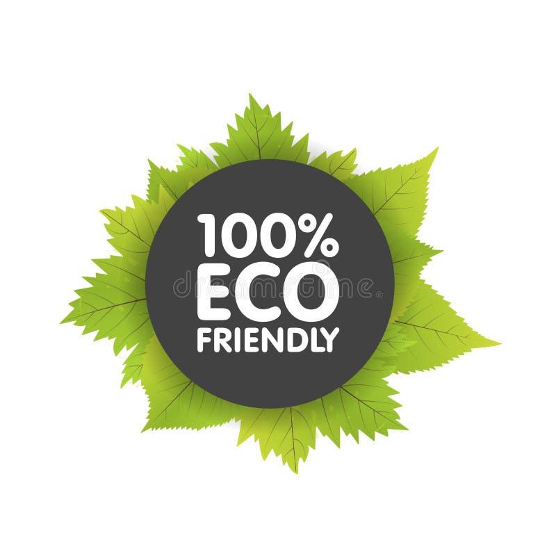 Eco odznaki sztandarów życzliwa życiorys etykietka z zielonym naturalnym liściem okrąg ilustracja ilustracji