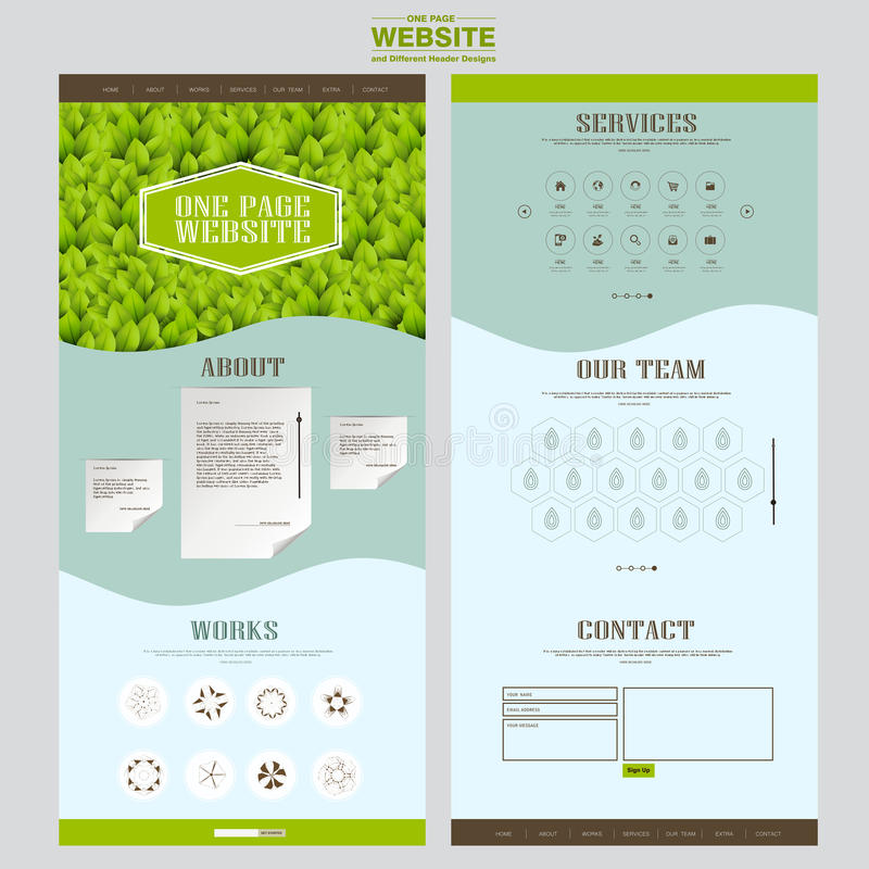 Eco one page website template design royalty free illustration