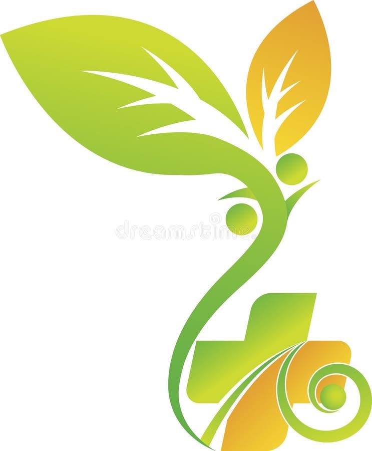 Eco opieki zdrowotnej logo royalty ilustracja