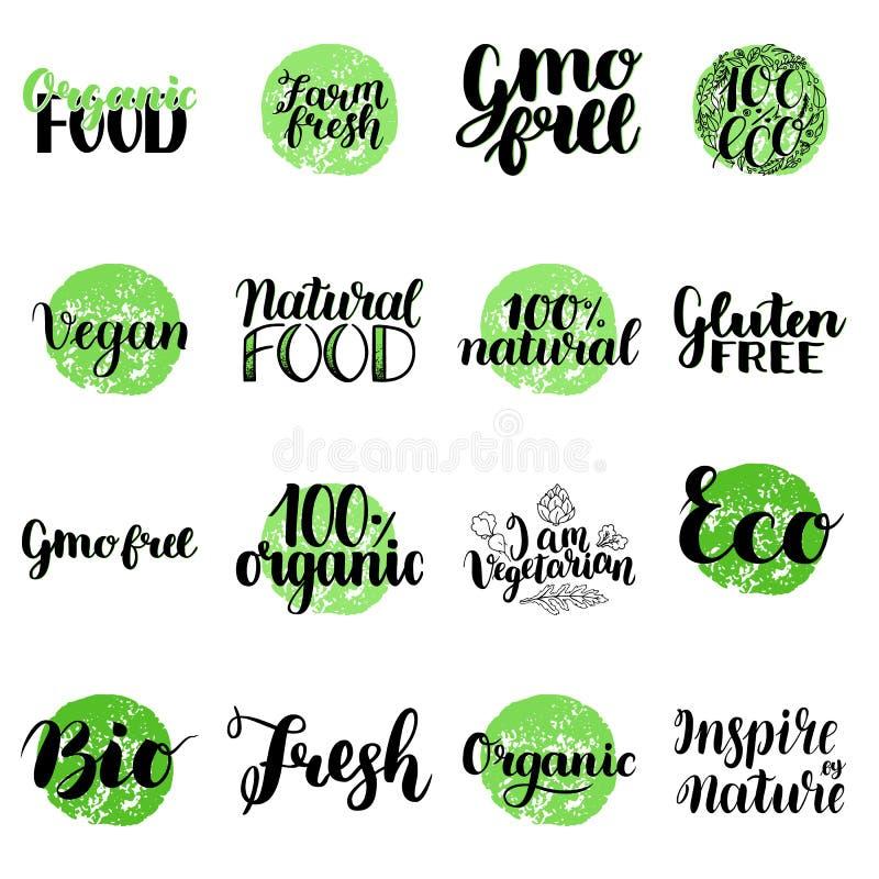 Eco Organicznie, Życiorys, gluten uwalnia, Naturalny jedzenie, weganinu literowanie Nowożytna ręka Rysować Ekologiczne odznaki pr royalty ilustracja