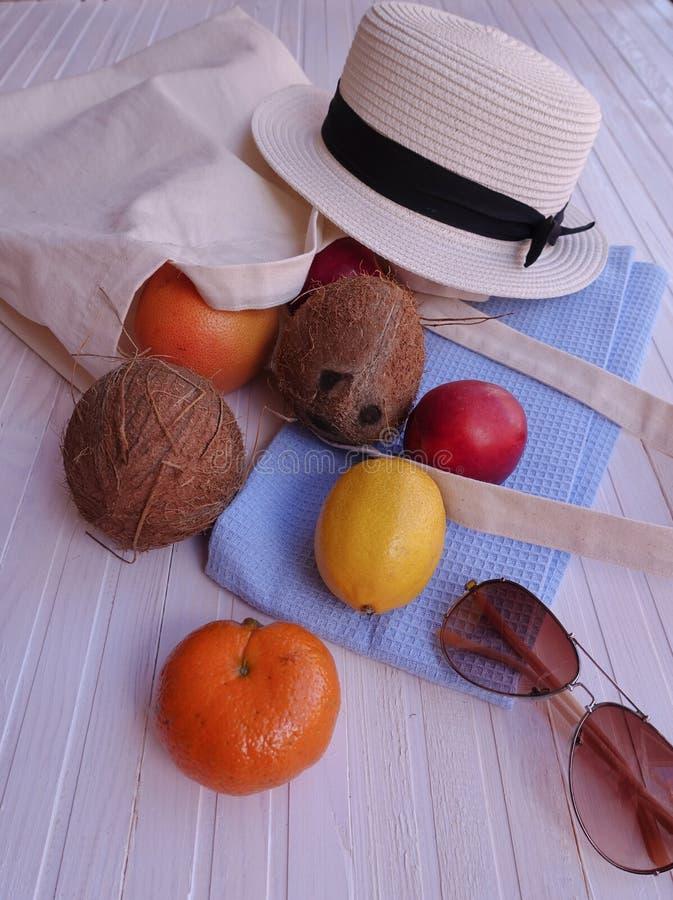 Eco påse med frukt, hatten och solglasögon royaltyfri fotografi