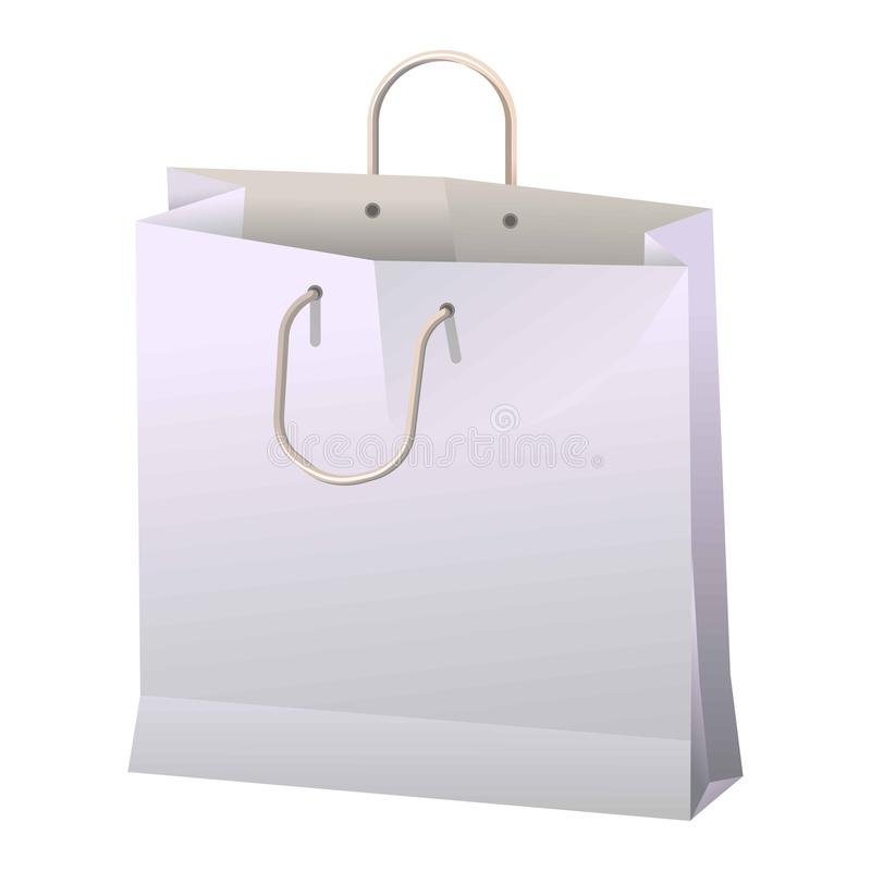 Eco package banner in flat cartoon style. Paper shopping bag. With handle isolated on white. Vector poster in realistic design of container made of carton for stock illustration