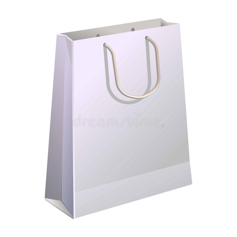Eco package banner in flat cartoon style. Paper shopping bag. Paper shopping bag with handle isolated on white. Vector poster in realistic design of container stock illustration