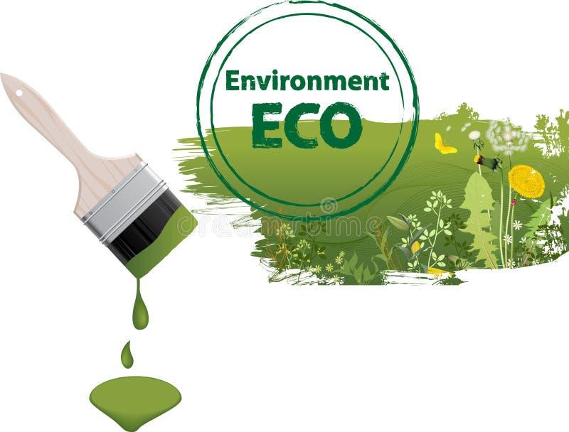 Eco paintbrush. vector illustration